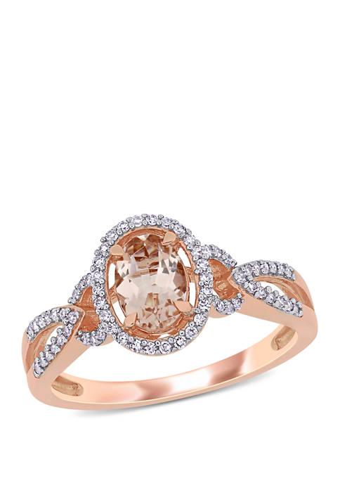 Morganite and Diamond Oval Halo Ring