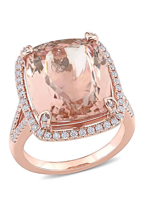 Belk & Co. Morganite and Diamond Halo Ring