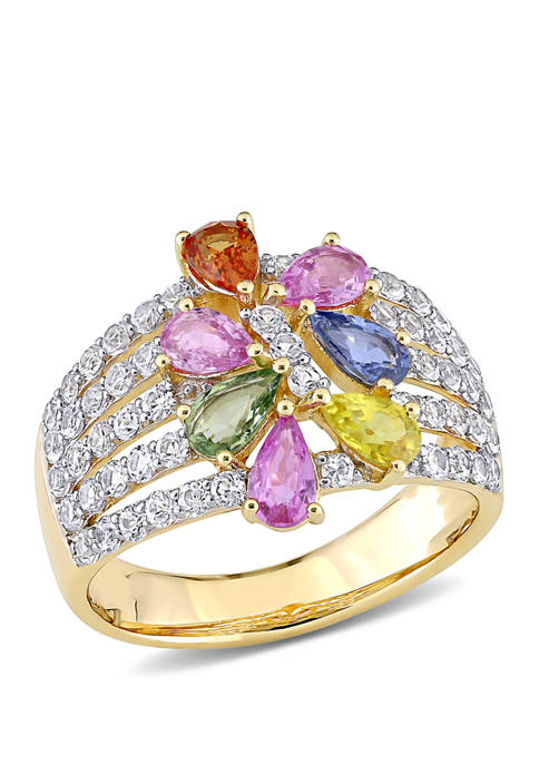 2.88 ct. t.w. Multi-Color Sapphire Floral Ring in 14k Yellow Gold