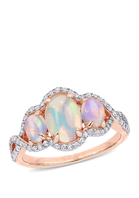 1.25 ct. t.w. Ethiopian Opal and 1/3 ct. t.w. Diamond Halo 3 Stone Ring 10k Rose Gold