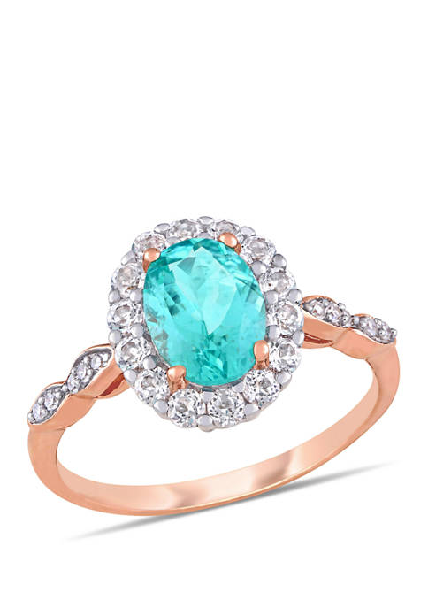 1.25 ct. t.w. Apatite, 5/8 ct. t.w. White Topaz and 1/10 ct. t.w. Diamond Accent Halo Vintage Ring in 14k Rose Gold