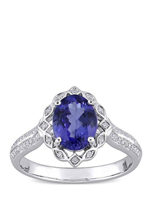 1.8 ct. t.w. Tanzanite and 1/6 ct. t.w. Diamond Art Deco Design Ring in 14k White Gold
