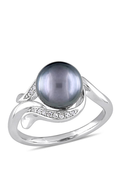 1/10 ct. t.w. Diamond and 8.5 to 9 Millimeter Cultured Tahitian Pearl Accent Ring in 14k White Gold
