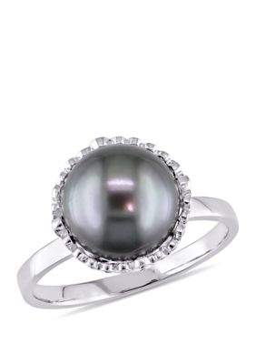 Belk Co. Women 1 4 Ct. T.W. Diamond And 9.5 To 10 Millimeter Cultured Tahitian Pearl Cocktail Ring In 14K White Gold