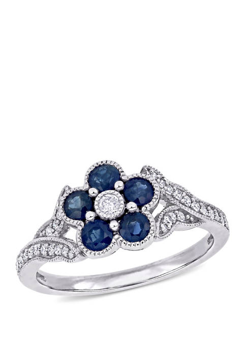 4/5 ct. t.w. Sapphire and 1/6 ct. t.w. Diamond Floral Engagement Ring in 10k White Gold