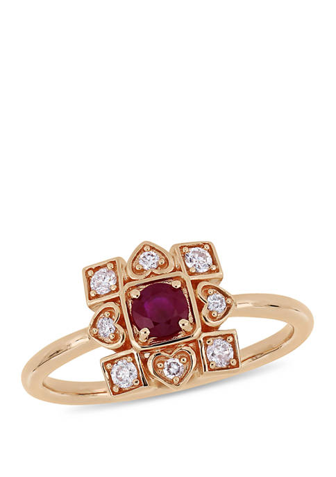 1/3 ct. t.w. Ruby and 1/5 ct. t.w. Diamond Artisanal Ring in 10k Rose Gold