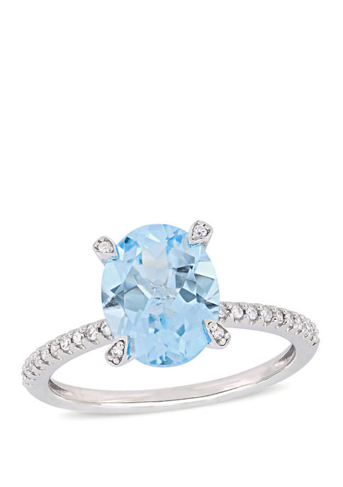 3.8 ct. t.w. Blue Topaz and 1/10 ct. t.w. Diamond Oval Ring in 10k White Gold