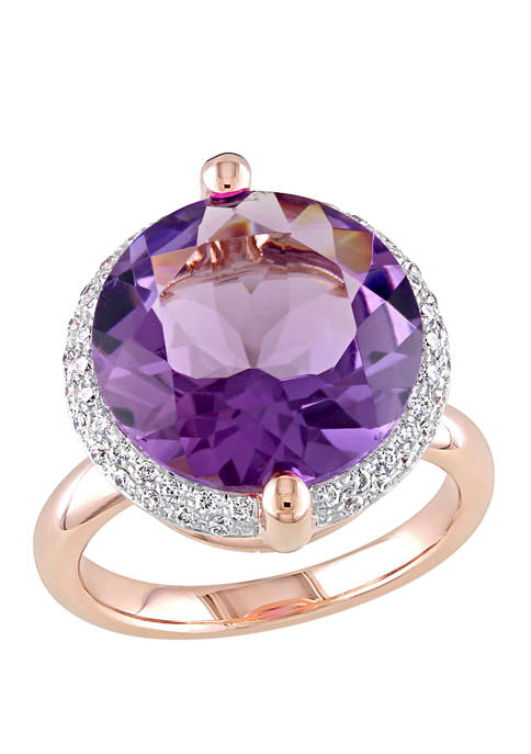 9 ct. t.w. Amethyst and 1/4 ct. t.w. Diamond Halo Ring in 14K Rose Gold