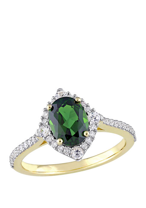 1.5 ct. t.w. Chrome Diopside, 1/5 ct. t.w. White Sapphire, and 1/4 ct. t.w. Diamond Vintage Ring in 14K Yellow Gold