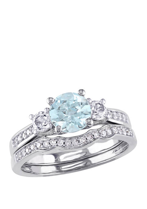 1 ct. t.w. Aquamarine, Lab Created White Sapphire, and  1/6 ct. t.w. Diamond Accent 3-Stone Bridal Set in 10K White Gold