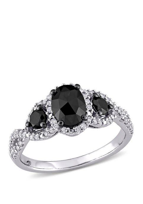 1.3 ct. t.w. Black and White Diamond Halo Engagement Ring in 14K White Gold