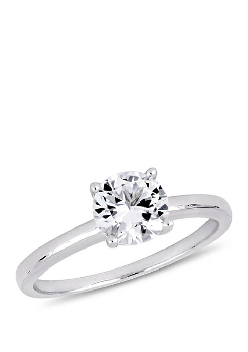 1.25 ct. t.w. Lab Created White Sapphire Solitaire Engagement Ring in 10K White Gold