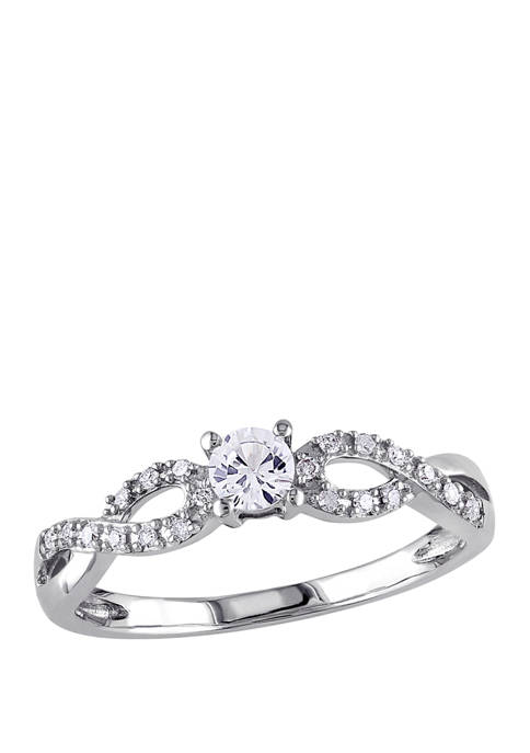 1/4 ct. t.w. Lab Created White Sapphire and 1/10 ct. t.w. Diamond Infinity Promise Ring in 10K White Gold