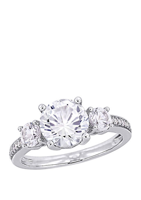 3 ct. t.w. Lab Created White Sapphire and 1/10 ct. t.w. Diamond 3 Stone Ring in 10K White Gold