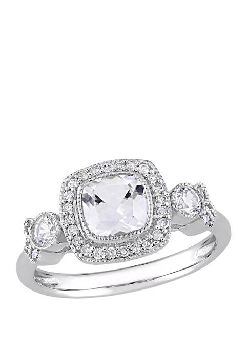 1.5 ct. t.w. Lab Created White Sapphire and 1/6 ct. t.w. Diamond Halo 3 Stone Ring in 10K White Gold