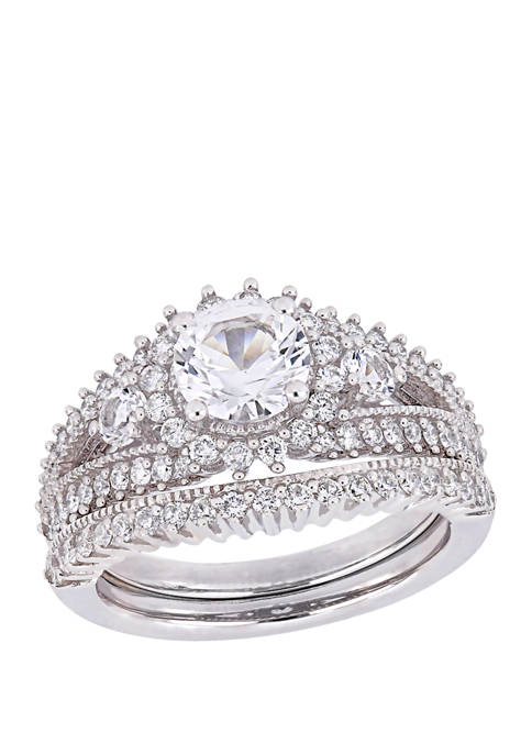 1.6 ct. t.w. Lab Created White Sapphire and 4/5 ct. t.w. Diamond Bridal Ring Set in 10K White Gold
