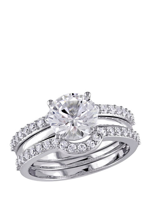 3.25 ct. t.w. Lab Created White Sapphire 3 Piece Bridal Ring Set in 10K White Gold