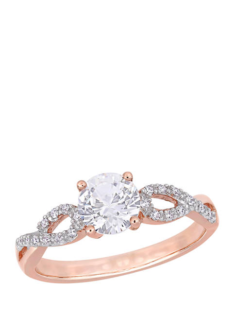 1 ct. t.w. Lab Created White Sapphire and 1/10 ct. t.w. Diamond Infinity Engagement Ring in 10K Rose gold