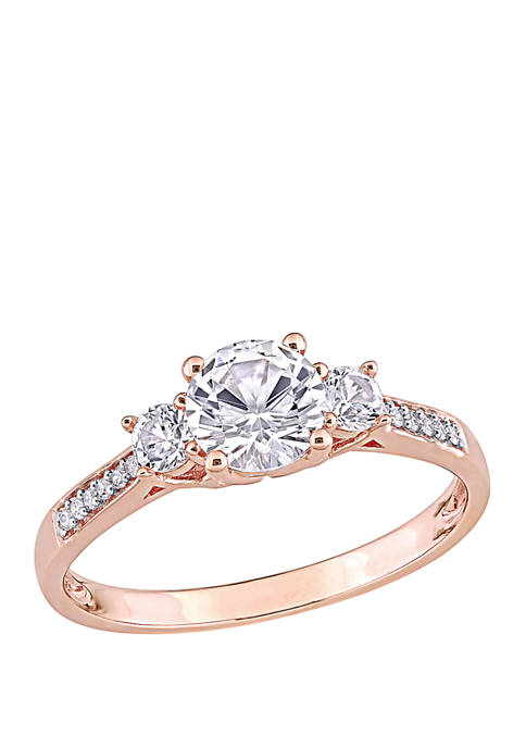 1.3 ct. t.w. Lab Created White Sapphire and 1/10 ct. t.w. Diamond 3 Stone Engagement Ring in 10K Rose Gold