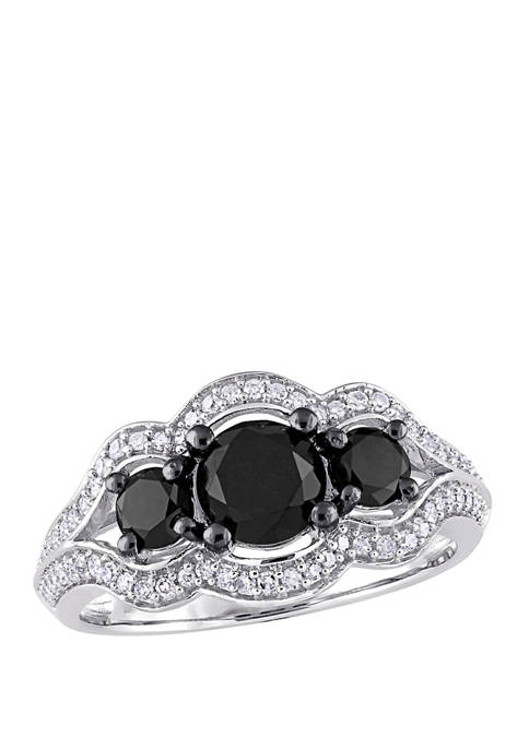 1.75 ct. t.w. Black and White Diamond 3 Stone Halo Engagement Ring in 10K White Gold