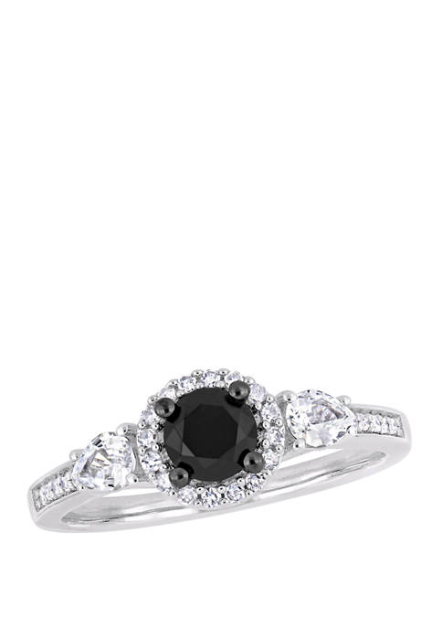 5/8 ct. t.w. Black and White Diamond and 3/8 ct. t.w. White Sapphire Halo Engagement Ring in 10K White Gold