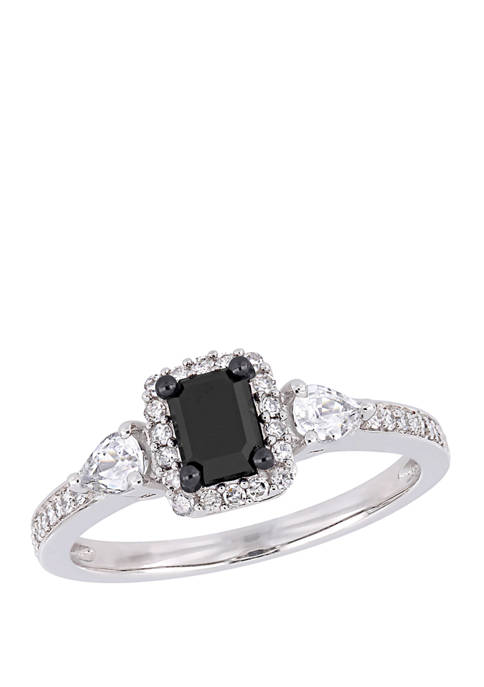 7/8 ct. t.w. Black and White Diamond and 3/8 ct. t.w. White Sapphire Halo Engagement Ring in 10K White Gold