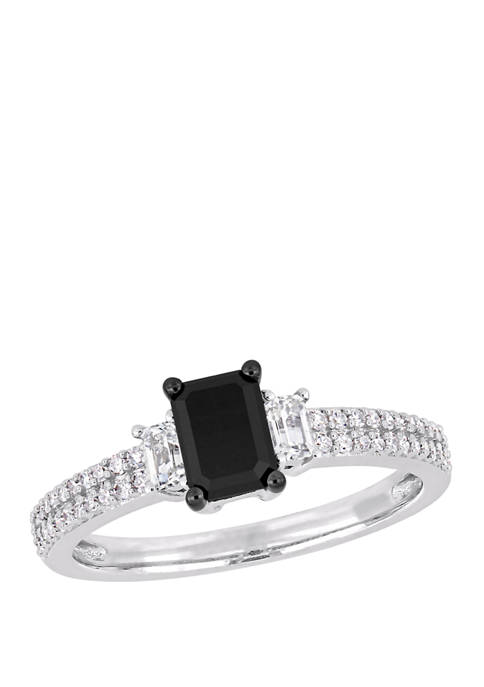 4/5 ct. t.w. Black and White Diamond and 1/3 ct. t.w. White Sapphire Engagement Ring in 10K White Gold