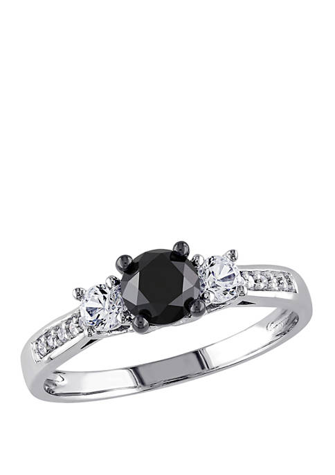 4/5 ct. t.w. Black and White Diamond and 1/3 ct. t.w. Lab Created White Sapphire 3 Stone Engagement Ring in 10K White Gold