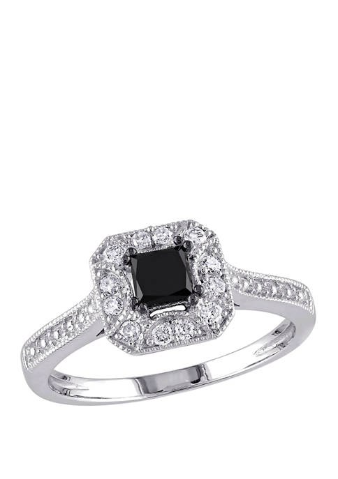 3/5 ct. t.w. Black and White Diamond Princess Cut Halo Engagement Ring in 10K White Gold