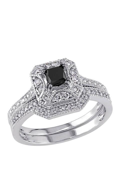 5/8 ct. t.w. Black and White Diamond Princess Cut Halo Bridal Set in 10K White Gold