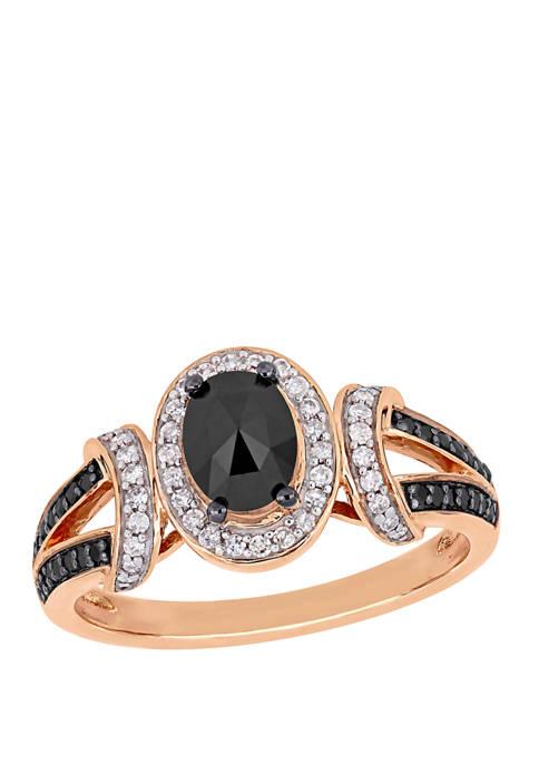 1 ct. t.w. Black and White Diamond Split Shank Ring in 10K Rose Gold