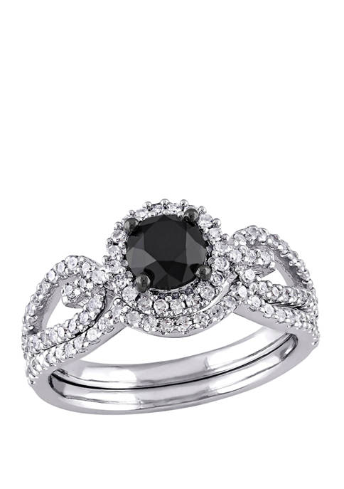 1.5 ct. t.w. Black and White Diamond Halo Crossover Bridal Set in 10K White Gold