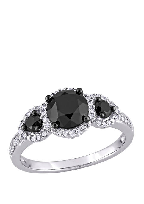2 ct. t.w. Black and White Diamond 3 Stone Halo Engagement Ring in 10K White Gold