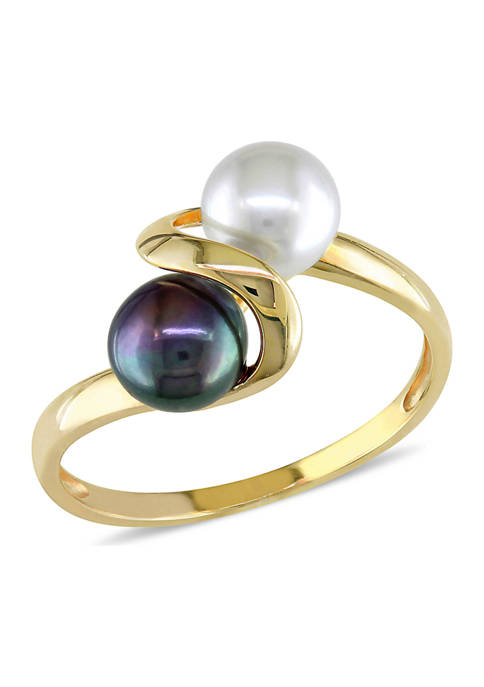 White and Black Cultured Freshwater Pearl Ring in 10k Yellow Gold