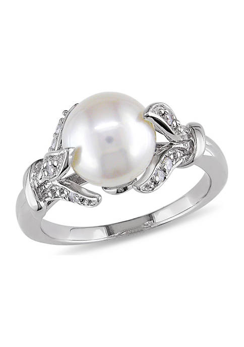 8-8.5 Millimeter Cultured Freshwater Pearl and 1/10 ct. t.w. Diamond Leaf Ring in Sterling Silver