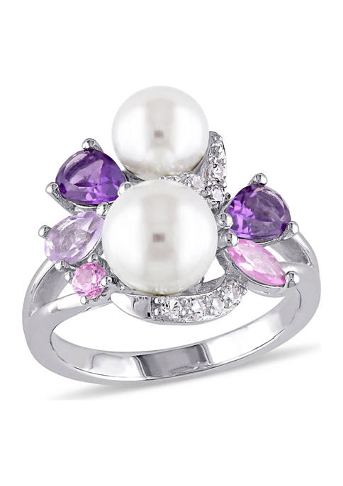 Cultured Freshwater Pearl and 1.38 ct. t.w. Multi-Gemstone Cluster Ring in Sterling Silver