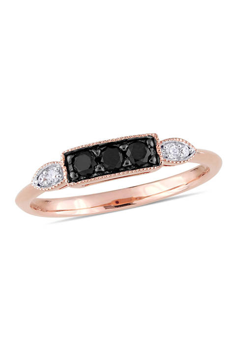 1/4 ct. t.w. Black and White Diamond 3-Stone Ring in 10K Rose Gold