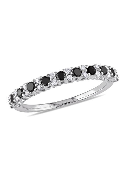 1/2 ct. t.w. Black and White Diamond Anniversary Band in Sterling Silver