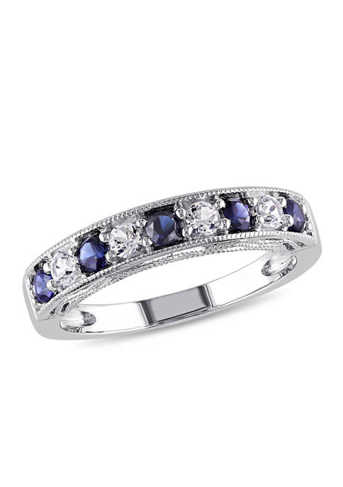 4/5 ct. t.w. Lab Created Blue and White Sapphire Anniversary Band in Sterling Silver