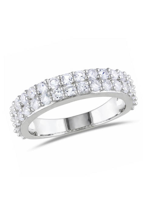 1.88 ct. t.w. Lab Created White Sapphire Double Row Ring in Sterling Silver
