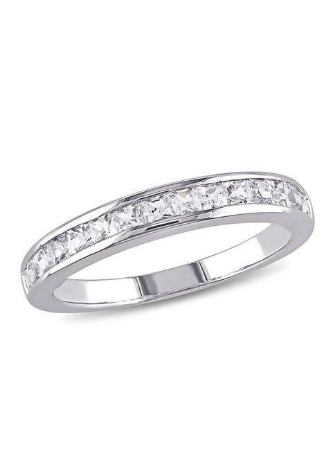 3/4 ct. t.w. Lab Created White Sapphire Channel Set Anniversary Band in Sterling Silver