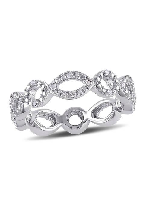 1/10 ct. t.w. Diamond Geometric Eternity Ring in Sterling Silver