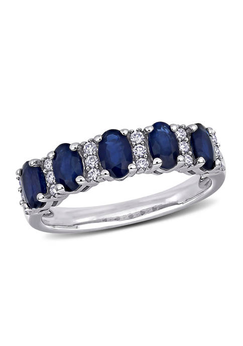 1.5 ct. t.w. Sapphire and 1/6 ct. t.w. Diamond Semi Eternity Ring in 14K White Gold