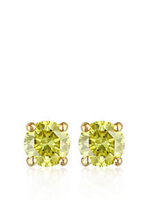 1/4 ct. t.w. Yellow Diamond Solitaire Earrings in 14k Yellow Gold