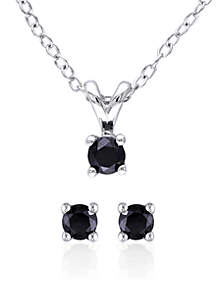 Black Diamond Solitaire Earrings and Pendant Set