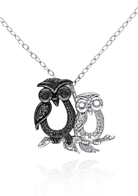 Belk & Co. Black Diamond Owl Pendant in