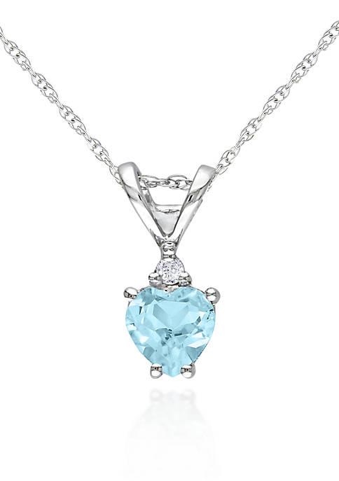 Belk & Co. 10k White Gold Aquamarine Heart