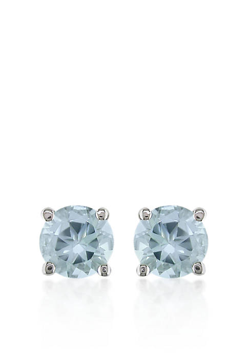 Belk & Co. 14k White Gold Aquamarine Stud