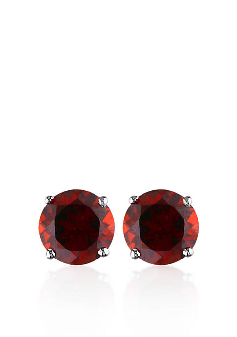 Belk & Co. 14k White Gold Garnet Stud