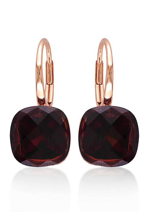 14k Rose Gold Garnet Earrings